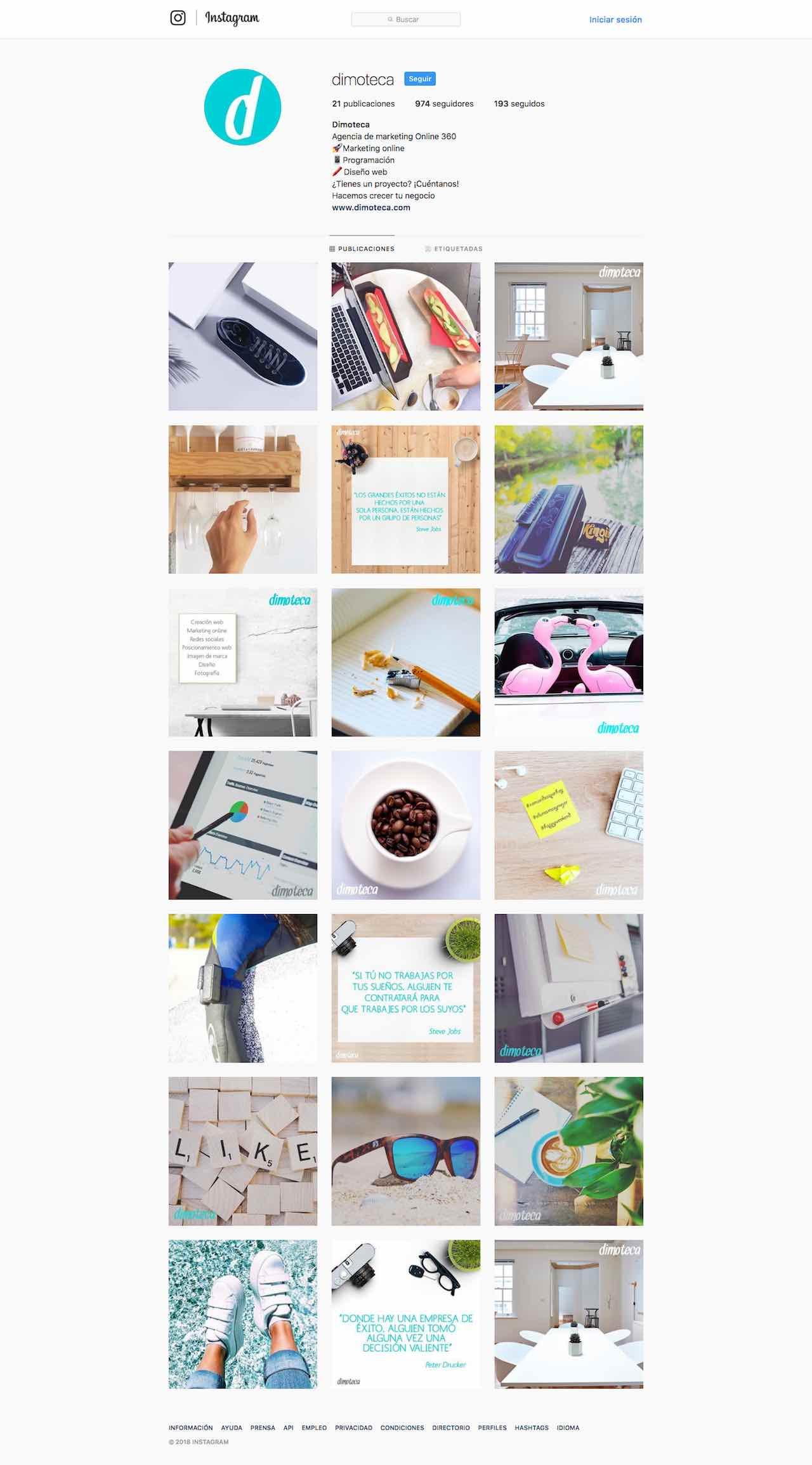 foto del instagrama de la agencia de marketing digital dimtoeca